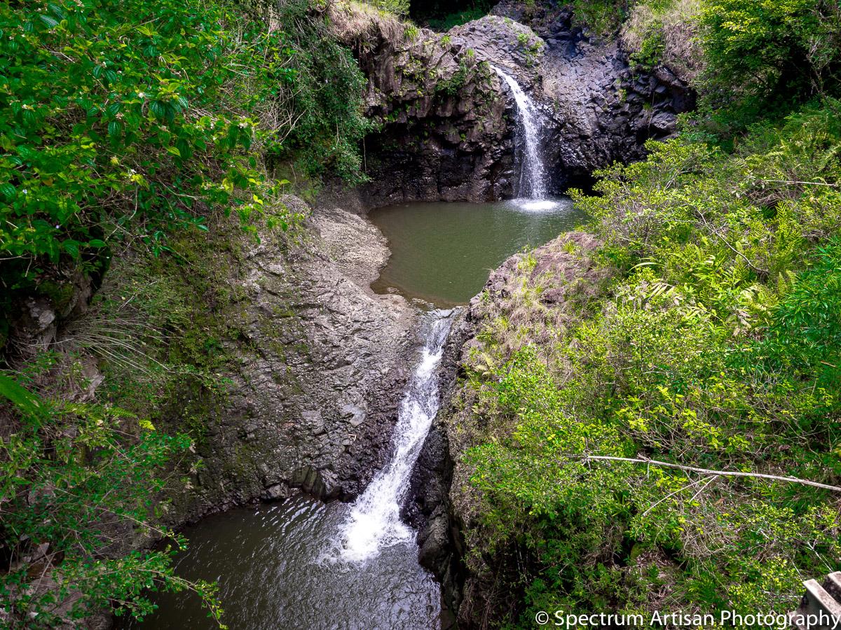 A couple of the many, many waterfalls in Kauai, Hawaii