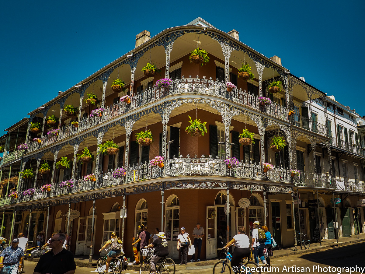 Traditional balcony of New Orleans, LA.  They all have beautiful ironwork and flowers galore.